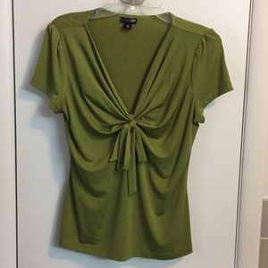 East 5th light olive green tie front blouse (M)